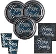 8 Happy Birthday Teller in Schwarz Blau foliert