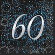 60. Geburtstag 16 Servietten in Schwarz Blau foliert