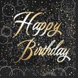 16 Happy Birthday Servietten in Schwarz Gold foliert