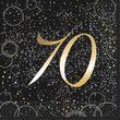 70. Geburtstag 16 Servietten in Schwarz Gold foliert