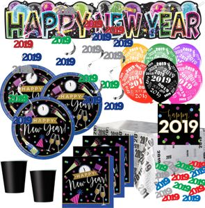 XXL 62 Teile 2019 Silvester Happy New Year Cheers Deko Set für 8 Personen