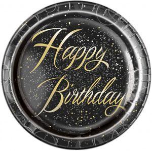 [Paket] 32 Teile edles Party Deko Set Happy Birthday zum Geburtstag in Schwarz Gold foliert für 8 Personen