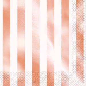 16 Servietten Weiß und RoseGold gestreift mit Glanz Applikationen