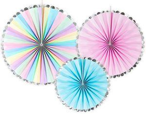 3 hängende Dekofächer Pastell Farben mit Silber Rand