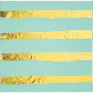 16 Mint mit Gold gestreifte Servietten mit Glanz Applikationen