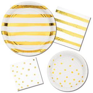 8 Teller in Weiß mit Gold gestreiften Glanz Applikationen – Bild 2