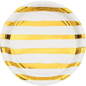 8 Teller in Weiß mit Gold gestreiften Glanz Applikationen