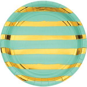 8 Teller in Mint mit Gold gestreiften Glanz Applikationen