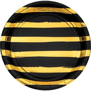 8 Teller in Schwarz mit Gold gestreiften Glanz Applikationen