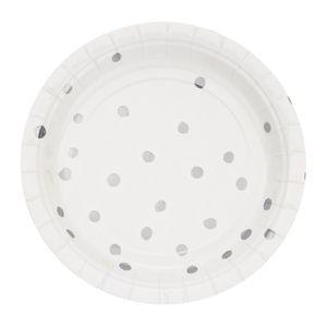 8 kleine Teller in Weiß mit Silber gepunkteten Glanz Applikationen