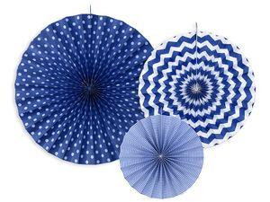 3 hängende Dekofächer Marine Blau mit Muster