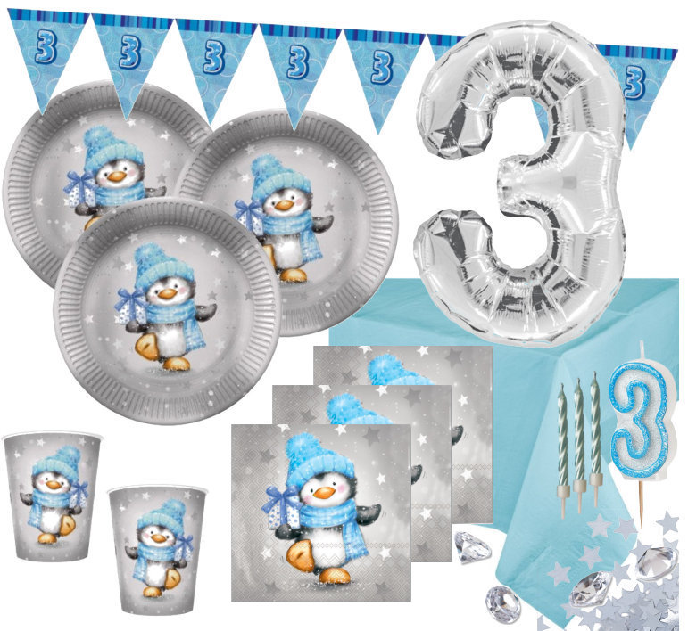 Xxl 75 Teile Dritter Geburtstag Deko Set Pinguin Junge In Hellblau