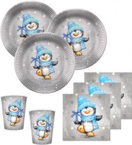 XL 79 Teile Pinguin Junge in Hellblau und Silber Deko Set für 16 Personen – Bild 2