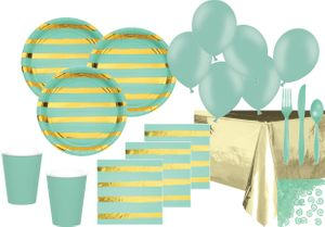 XXL 68 Teile Deluxe Party Deko Set Mint & Gold Glanz gestreift für 8 Personen