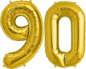 Folien Ballon Zahl 90 in Gold - XXL Riesenzahl 86 cm zum 90. Geburtstag in Gold - Jumbo – Bild 1
