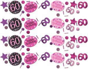 Deko Konfetti 60. Geburtstag in Pink Glitzer