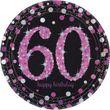 8 Teller Glitzerndes Pink und Schwarz 60. Geburtstag