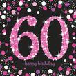 16 Servietten Glitzerndes Pink und Schwarz 60. Geburtstag