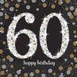 16 Servietten Glitzerndes Gold und Schwarz 60. Geburtstag