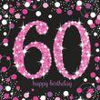 48 Teile zum 60. Geburtstag Pink Glitzer für 16 Personen