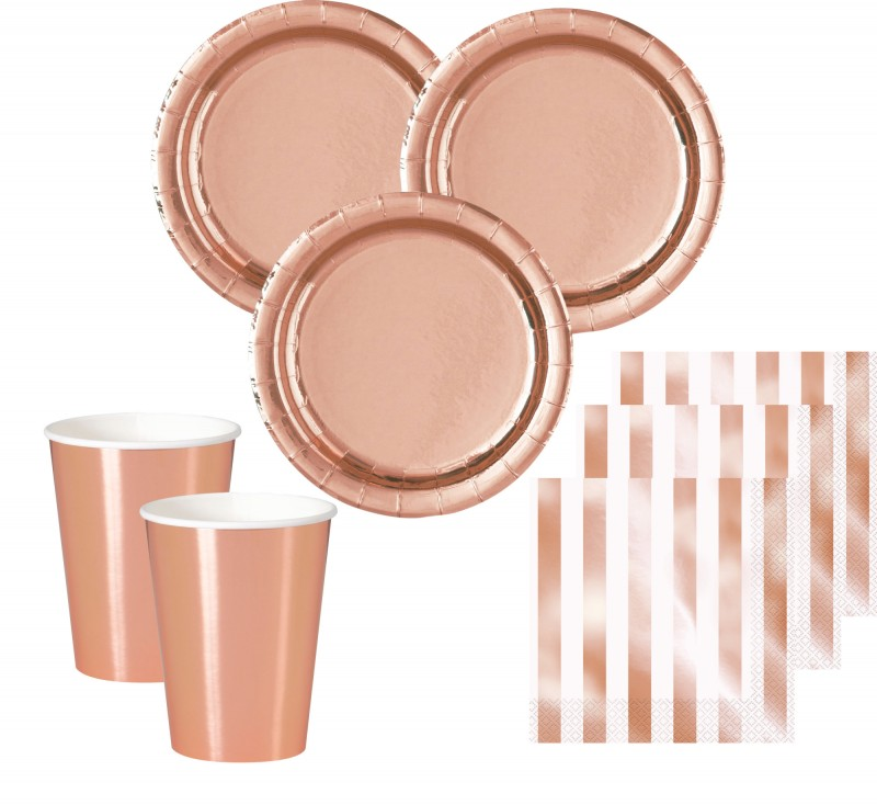 Xl 34 teile party deko set rose gold glanz f r 8 personen for Zimmer dekoration rosegold