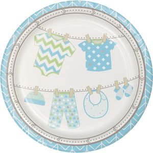 8 Teller Baby Party Pastell Blau