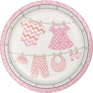 8 Teller Baby Party Pastell Rosa