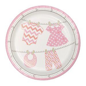 8 kleine Teller Baby Party Pastell Rosa – Bild 1
