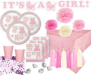 XXL 66 Teile Deluxe Baby Party Rosa Babyshower Set für 16 Personen Do it yourself – Bild 1