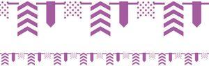 Banner Girlande am Satinband Violett gemustert