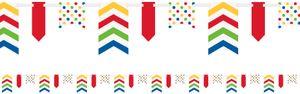 Banner Girlande am Satinband Regenbogen Farben gemustert