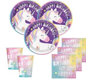 32 Teile Lila Party Einhorn Party Deko Set für 8 Kinder