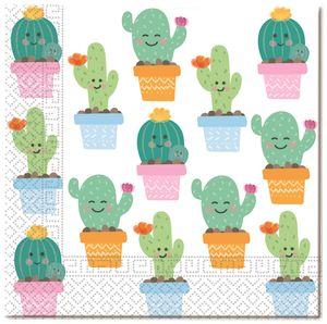 20 Servietten Happy Kaktus Pastell Farben Party – Bild 1