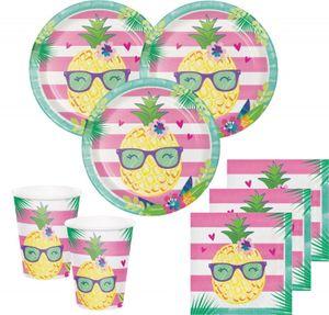 32 Teile Ananas und Freunde Sommer Party Deko Basis Set - für 8 Kinder – Bild 1