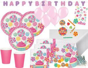 XXL 74 Teile Party Deko Set Rosa Lollie Candybar für 8 Personen – Bild 1