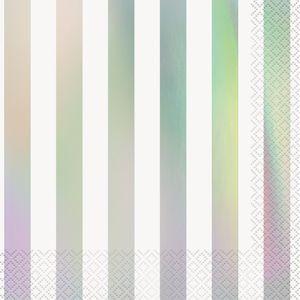 16 Servietten weiß mit Irisierenden Streifen auf der Vorderseite