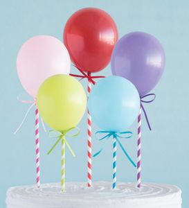 5 Kuchen oder Deko Stecker bunte Mini Luftballons – Bild 1