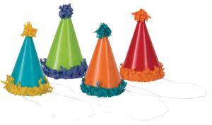 8 kleine bunt beklebte Party Hütchen mit PomPom
