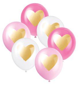 6 Luftballons mit goldenem Herz Rosa Pink und Weiß