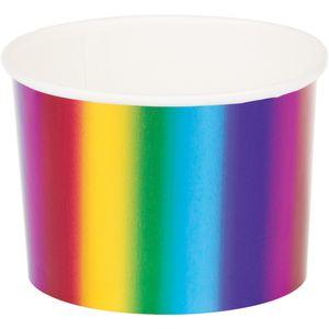 6 kleine Dessert oder Eisbecher schimmernder Regenbogen
