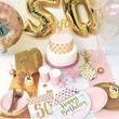 80. Geburtstag Pink Chic Wimpel Girlande 3,7m