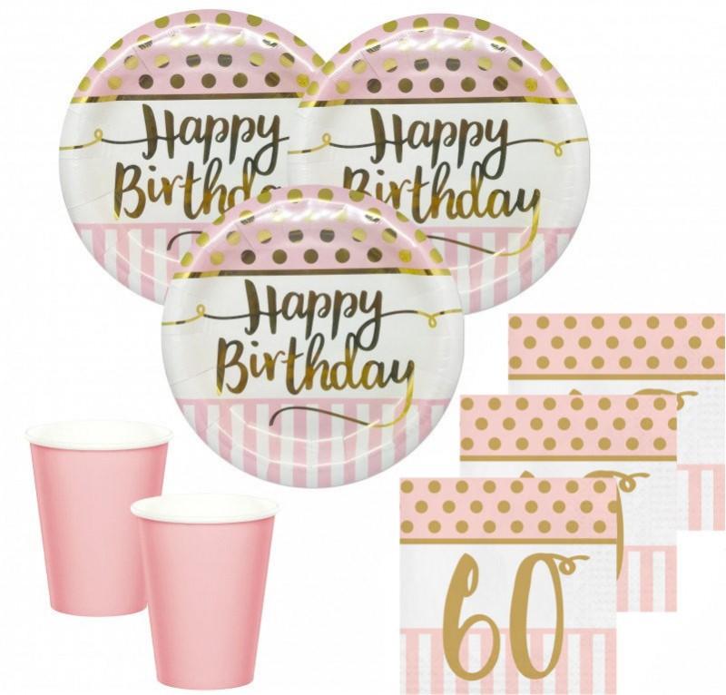 36 Teile Pink Chic Party Deko Set Zum 60. Geburtstag In