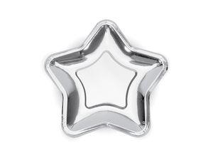 6 kleine Stern Papp Teller Silber Glanz