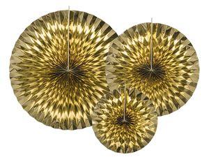 3 hängende Dekofächer Gold Glanz