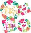8 große Teller Aloha Pink und Gold