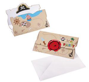 8 Einladungskarten Piraten Abenteuer