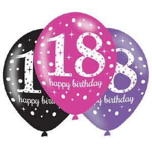 6 Luftballons Pink und Schwarz 18. Geburtstag