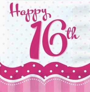 18 Servietten Perfectly Pink zum 16. Geburtstag