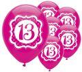 6 Luftballons Perfectly Pink zum 13. Geburtstag