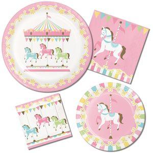 Tischdecke klassische Babyparty Pferde Karussell – Bild 2
